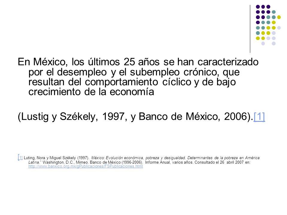 (Lustig y Székely, 1997, y Banco de México, 2006).[1]